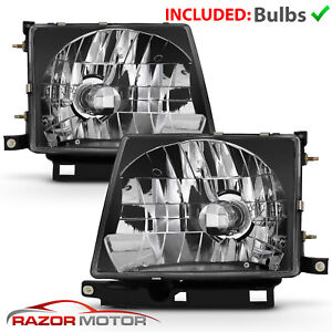 Jdm Black Headlight Pair W Bulb For Toyota Tacoma 1997 2000 2wd 1998 2000 4wd