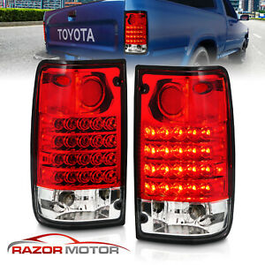 1989 1995 Red Clear Led Tail Light Pair For Toyota Pickup Truck W Bulb Socket