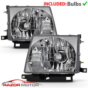 Chrome Headlight Pair W Bulb For Toyota Tacoma 1997 2000 2wd 1998 2000 4wd