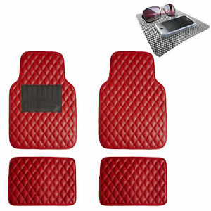 Diamond Pattern Floor Mats For Cars Leather Car Suv Red W Gray Dash Pad