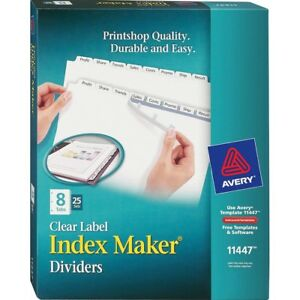 Avery Index Maker Print Apply Clear Label Dividers With White Tabs