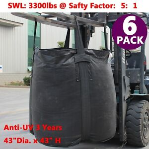 Pack 6 Anti uv Fibc Bulk Bags Super Sack Ton Bag Woven Polypropylene Bag 3300lbs