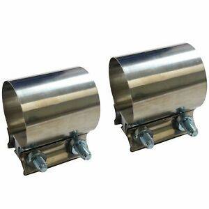 2pcs 2 1 4 2 25 Stainless Steel Butt Joint Band Exhaust Clamp Sleeve Coupler