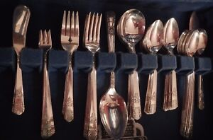 Park Lane Silverplate Wm A Rogers Grille Set For 8 Xtr Tspn Soup Iced Tea Oyster