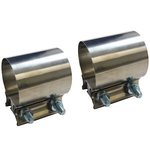 2x 3 Stainless Steel Butt Joint Band Exhaust Clamp Sleeve Coupler T304