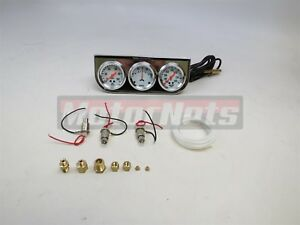 Mechanical 2 Chrome Oil Pressure Water Temp Amp Triple 3 Gauge Set White Panel