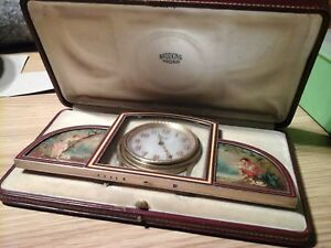 Stunning Rare French Art Deco Silver Enamel Painted Panel Clock Leather Case