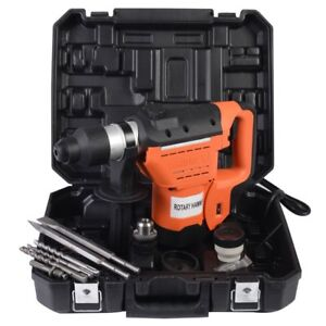 Sds 1 1 2 Electric Rotary Hammer Drill Plus Demolition Bits Variable Speed New