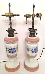 Pair Of 2 Vintage Table Lamps Converted From Oil 25 H X 6 5 Base Diameter