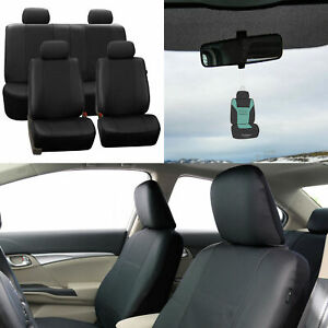 Faux Leather Seat Cover For Auto Car Suv Solid Black W Accessories Free Gift