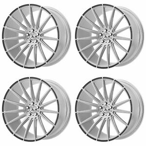 4x Asanti 22x10 5 Abl 14 Polaris Wheels Brushed Silver Carbon Fiber 5x115 25mm