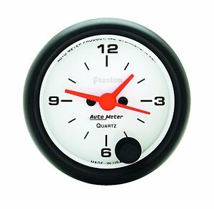 Autometer 5785 Phantom 2 1 16 Gauge Quartz Electric Movement Clock 52mm