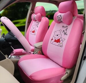 18 Piece Pink Winnie The Pooh And Piglet Car Seat Covers