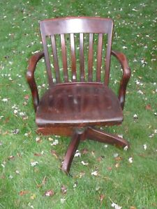 Antique Vintage Lawyers Bankers Library Oak Desk Arm Chair