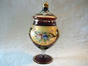 Gold Encrusted Czech Ruby Red Covered Candy Dish Handpainted Raised Decoration