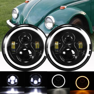7 inch Black Led Headlights Upgrade Hi low Beam Round Fit For Vw Beetle Classic