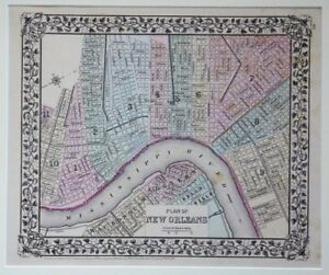 Original 1879 New Orleans Map Mitchell Old Louisiana French Quarter Algiers Mat