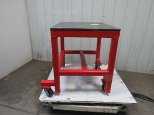 3 4 Thick Top Steel Machine Base Welding Table Work Bench 32 x28 W Casters