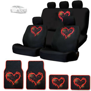 For Hyundai New Red Heart Design Front And Rear Car Seat Covers Floor Mats Set