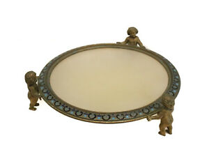 Continental Gilt Bronze Alabaster Putti Tray Blue Enamel Florals