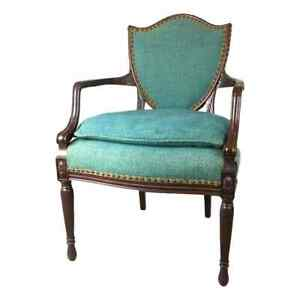 Sears Harmony House Carved Hepplewhite Shield Back Uphostered Teal Accent Chair
