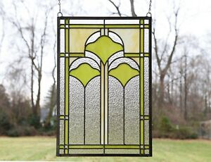 15 25 X 22 75 Handcrafted Ginkgo Style Stained Glass Window Panel