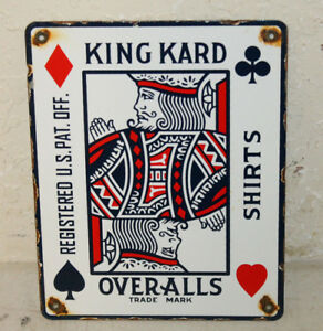 Vintage Style King Kard Overalls Porcelain Signs Country Store Advertising