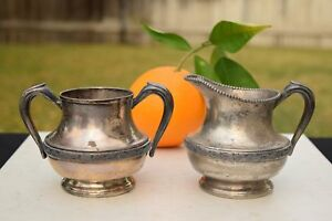 Vintage National Silver On Copper Tea Coffee Cream And Sugar Silver Plated