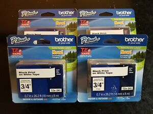 New Genuine Brother P touch Tape Tz241 Ptouch Tape Tze241 Tze 241 lot Of 4