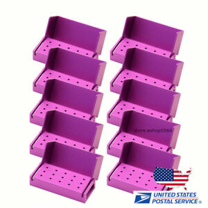 10pcs Dental Lab Aluminum Disinfection Burs Holder Opening Box Case 15holes