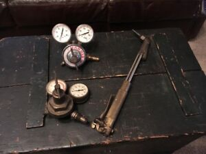 Vintage Harris Gas Regulator And Torch Handle Dockson Acetylene Guage 3 Pieces