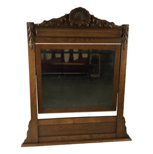 Antique Table Top Vanity Mirror Dressing Beveled Mirror Victorian Carved Oak
