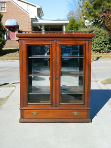 Victorian Walnut Two Door Bookcase China Cabinet With Gallery