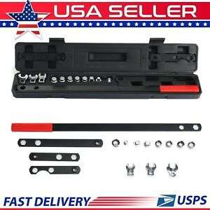 16pc Ratcheting Wrench Serpentine Belt Tool Kit Automotive Repair Set Sockets Us