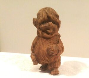 Vintage Hand Carved Wooden Wood Gnome Elf Troll Figurine Doll Henning Norway