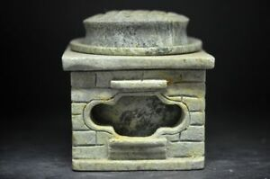 Rare Chinese Old Jade Pure Handmade Ancient Incense Burner Statue 122