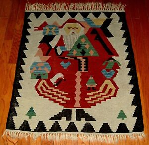 Vintage Turkish Santa Claus Kilim Old Rug