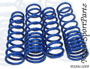 Blue Lowering Springs 4pc Front Rear For Honda Civic Crx 1988 1989 1990 1991