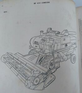 Massey Ferguson 410 Combine Parts Manual Book Mf 651 228 M91