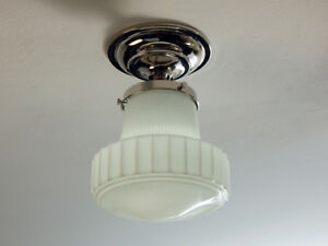 Semi Flush Deco Ceiling Light Vintage Opal Glass Shade And New Nickel Fixture