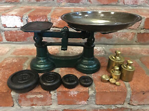 Antique Vintage English Cast Iron Farmhouse Kitchen Balance Scale 6 Brass Weight