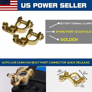 Pair Top Post Battery Terminal Battery Cable Ends Clips Clamps Replacement Brass