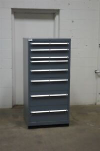 Used Lista 8 Drawer Cabinet Industrial Tool Storage 725 Vidmar Grey