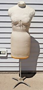 Vtg Professional Tailors Women Dress Form Mannequin W Cast Iron Stand Base 55