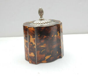 Silverplated Faux Tortoiseshell Fluted Tea Caddy Canister Box