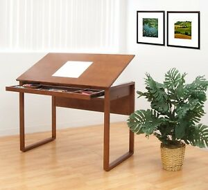 Ponderosa Drafting Table Workspace Desk Adjustable Wood Architect Drawing Brown