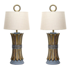 Pair Mid Century Hollywood Regency Table Lamps Wheat Lamps Pair Of Lamps