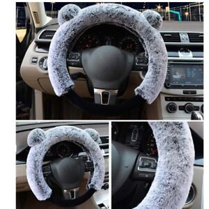 Universal 38cm Winter Cute Steering Wheel Cover Warm Plush Fluffy Steering Cover