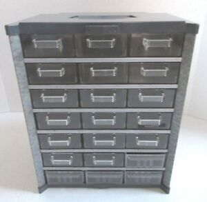 Vintage Metal Plastic 21 Drawer Storage Cabinet Hardware Organizer Craft Bin