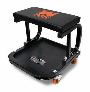 Mechanic Creeper Seat Garage Rolling Work Shop Stool Cart Tray Storage Cart